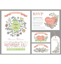 Wedding design template setDoodle Floral decor vector image