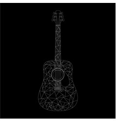 white low poly acoustic guitar on a black vector image
