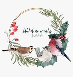 Winter animal wreath design with bird watercolor vector