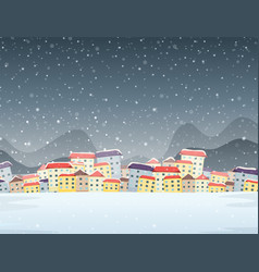 winter town night background vector image