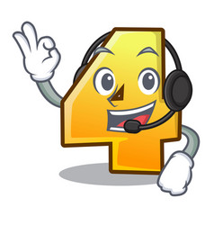 with headphone number four isolated on the mascot vector image