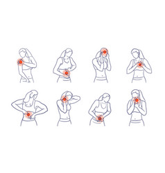 Woman with different body ache and pain area set vector