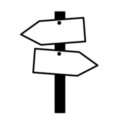 wooden guide signal on white background vector image