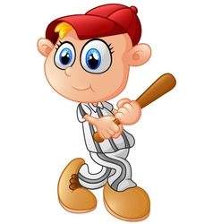 Young Boy playing baseball vector image