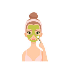 Young woman applying natural mask girl caring for vector