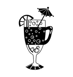 cocktail glass with lemon and drinking straw vector image