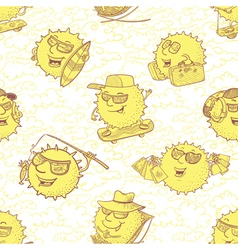 seamless pattern with sun characters vector image vector image