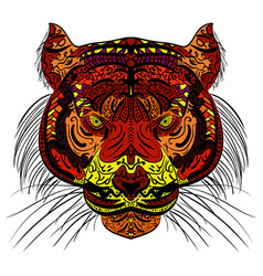 tiger head colored hand drawn zentangle design vector image