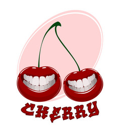 funny cherry on white vector image