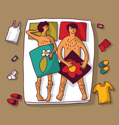 Gay homosexual naked man couple in bad vector