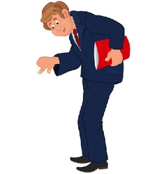 Happy cartoon man standing in blue suit with red vector image vector image