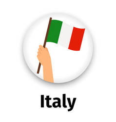 italy flag in hand round icon vector image vector image