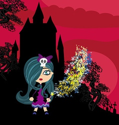 little witch in night vector image