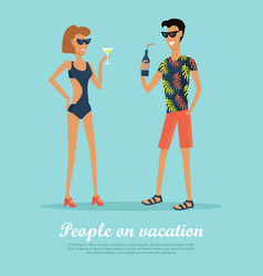 people on vacation drinking cocktails on rest vector image