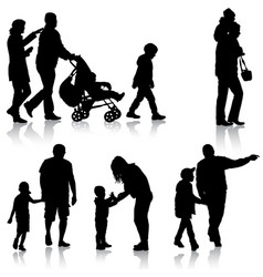 set black silhouettes family with pram on white vector image