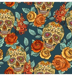 Skull diamond and Flowers Seamless Background vector image vector image
