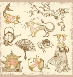 asian hand drawn elements vector image vector image