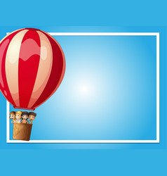 Border template with kids in red balloon vector