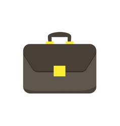 brown briefcase with golden lock isolated on white vector image