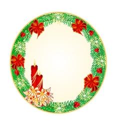 Button circular Christmas Spruce vector image