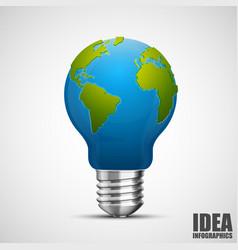 creative idea earth lamp earth sign green energy vector image vector image