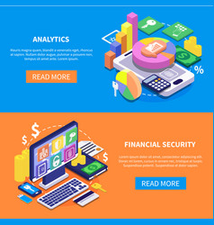 financial security isometric banners vector image vector image