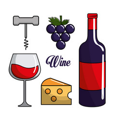 glass bottle of wine grape cheese and take out vector image