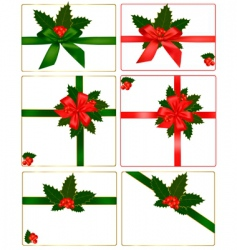 holly and ribbons vector image