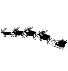 of reindeer pulling santa sled vector image