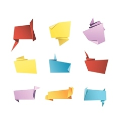 Origami Banner Speech Bubble Paper Set vector image