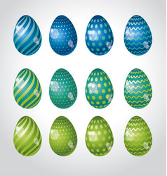 rainbow vivid color easter egg set bright simple vector image vector image