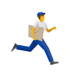 running delivery man holding big postal envelope vector image