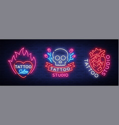 tattoo salon set of logos collection of vector image