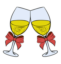 two glasses of champagne icon cartoon vector image