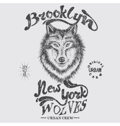 Urban graphic label with head of wolf vector image