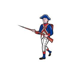 American Revolutionary Soldier Marching Cartoon vector image vector image