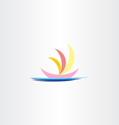 boat in sea logo icon sign vector image