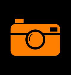 digital photo camera sign orange icon on black vector image vector image
