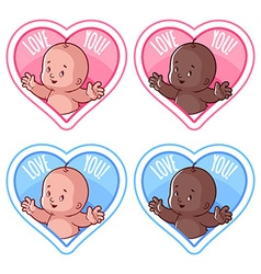 Four stickers in the shape of a heart with cute vector image vector image