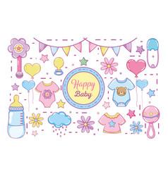 Happy baby cartoons vector