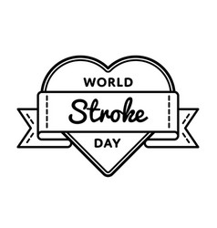 world stroke day greeting emblem vector image vector image