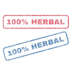 100 percent herbal textile stamps vector image