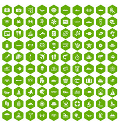 100 sea life icons hexagon green vector