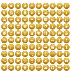 100 star icons set gold vector