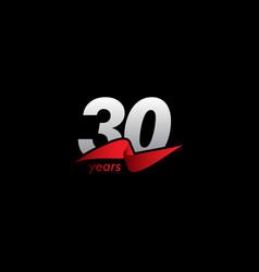 30 years anniversary celebration white black red vector