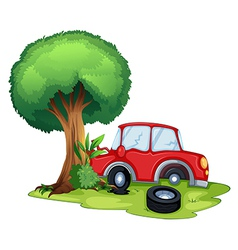 A red car bumping on a tree vector image