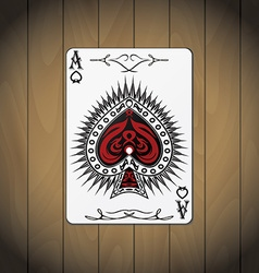 Ace spades poker cards wood background vector
