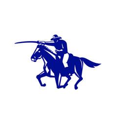 American cavalry charging retro vector