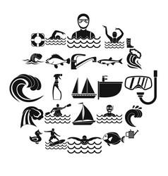 Aqua icons set simple style vector