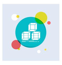 Arrange design stack 3d box white glyph icon vector